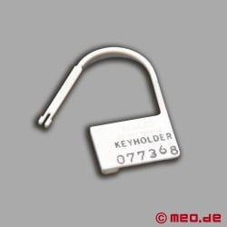 Plastic padlock seal for MEO chastity belt
