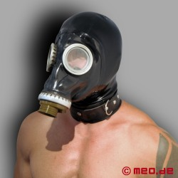 Maschera a gas russa con cuffia in lattice e collare