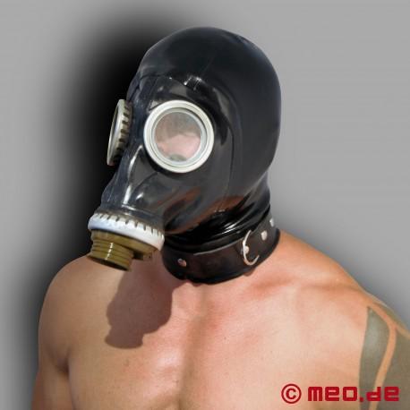 Masque à gaz russe avec coiffe et collier en latex
