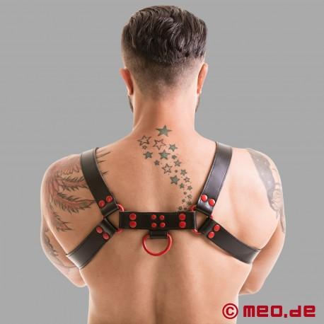 Imbracatura Fetish Gear in nero/rosso