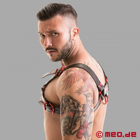 Fetish Gear Harness in schwarz/rot