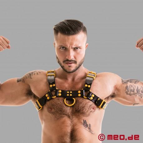 Fetish Gear Harness in schwarz/gelb