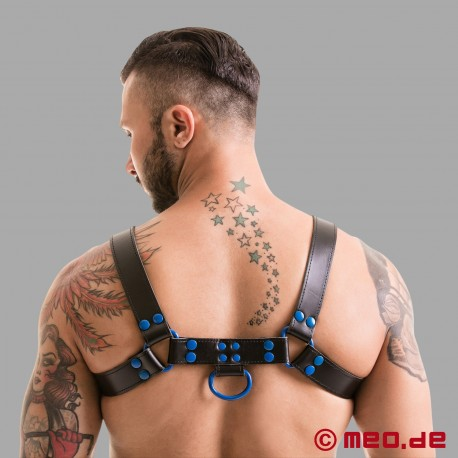 Fetish Gear Coloured H-Front Harness in Black/Blue