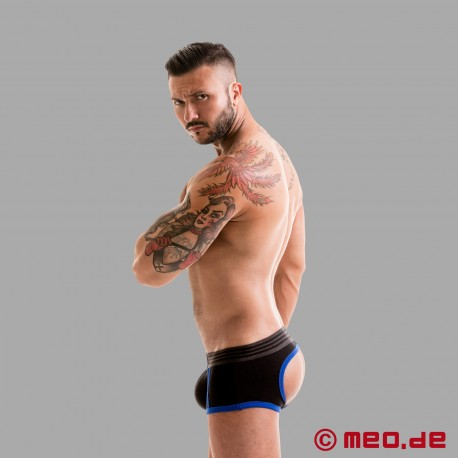 Fetish Gear Core Backless Boxer in Black / Royal