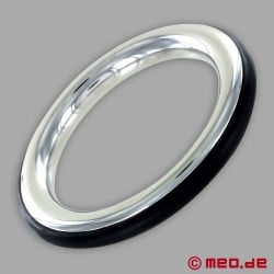 CAZZOMEO stainless steel cock ring with black silicone insert