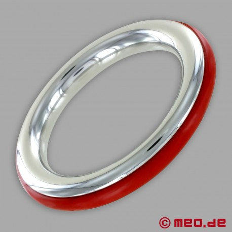 CAZZOMEO stainless steel cock ring with red silicone insert