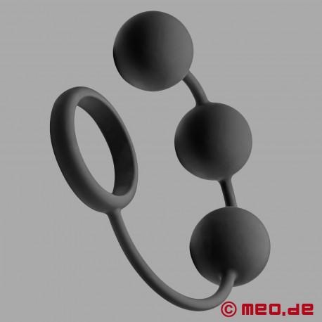 Anello per il pene con tre grosse e pesanti sfere anali