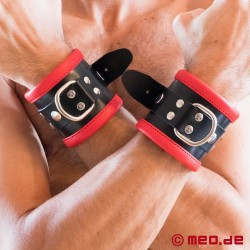Black/Red Leather Bondage Wrist Cuffs