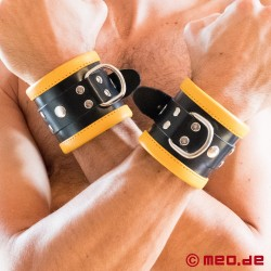 Black/Yellow Leather Bondage Wrist Cuffs