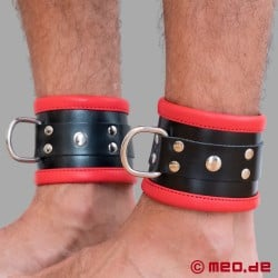Black/Red Leather Bondage Ankle Cuffs