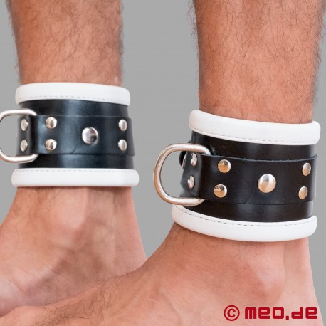 Polsini per caviglie bondage in pelle nero/bianco