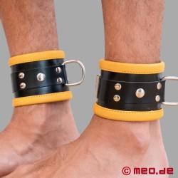 Schwarz / Gelbe Bondage Fesseln aus Leder