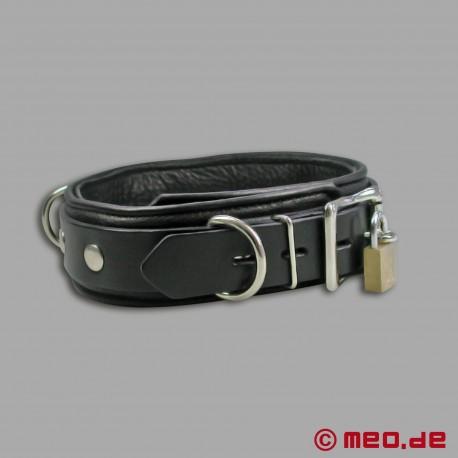 Abschließbares BDSM Lederhalsband mit Zeitschloss