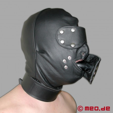 Bondage leather mask with time lock