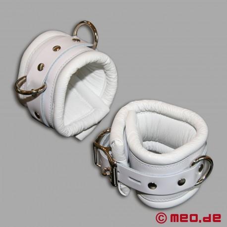Manette per caviglie bondage - bianco - con lucchetto a tempo