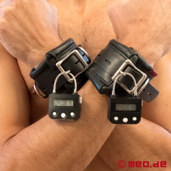 Lockable bondage wrist cuffs with time lock - heavily padded