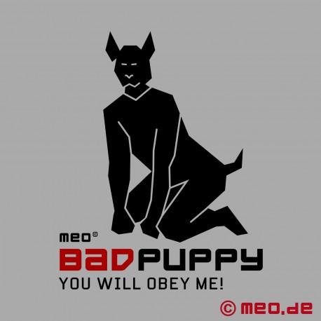 Sklavenhalsband – Schmales Puppy Halsband aus Leder schwarz/rot