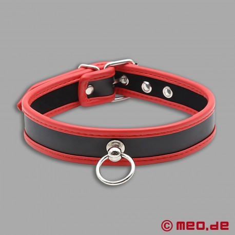 Slave collar - Narrow puppy collar made of leather black/red