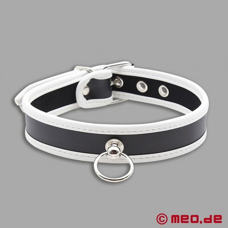 Slave collar - narrow puppy collar made of leather black/white