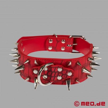 Collare a spuntoni rosso per human pup