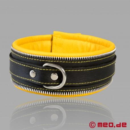 Collare di bondage in pelle nero/giallo