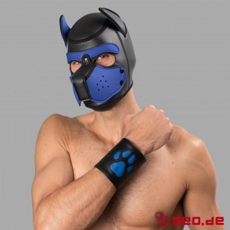 Puppy Stulpe aus Leder mit blauer Pfote - Leather Paw Puppy Gauntlet