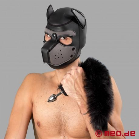 Bad Puppy Buttplug mit schwarzem Fell-Schweif – Cosplay & Human Pup Play