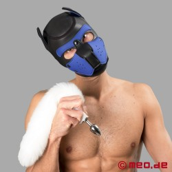 Bad Puppy Buttplug mit weißem Fell-Schweif – Cosplay & Human Pup Play