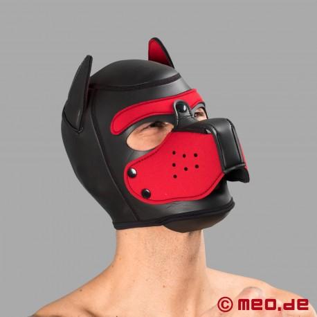 Bad Puppy - maschera da cane in neoprene - nero/rosso