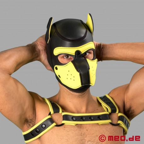 Bad Puppy - maschera da cane in neoprene - nero/giallo