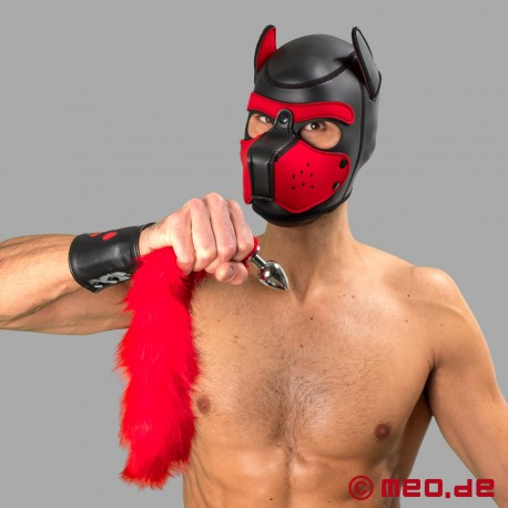 Bad Puppy butt plug with red fur tail - Cosplay & Human Pup Play
