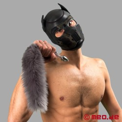 Bad Puppy Buttplug mit silbernem Fell-Schweif – Cosplay & Human Pup Play