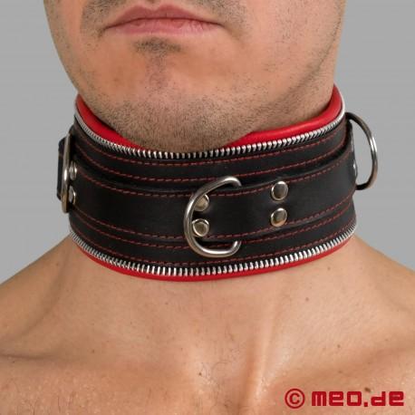 Cinturino per il collo in pelle BDSM nero/rosso