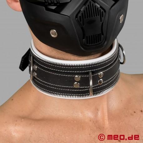 Collare di bondage in pelle bianca e nera