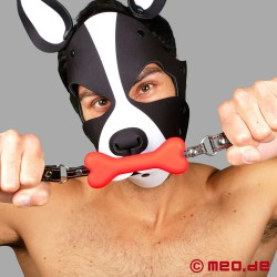 Bavaglio con osso Bad Puppy - Bavaglio con osso di cane rosso