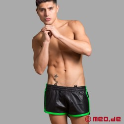 Soccer shorts in leather - MEO Fetish Edition - with green contrasting stripes