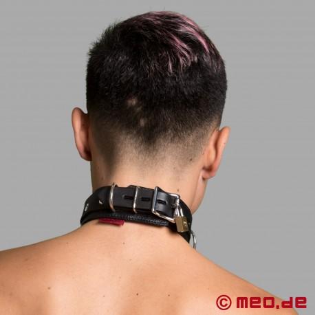 Collare in pelle bondage richiudibile - collare con lucchetto