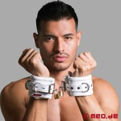Manette bondage richiudibile in pelle, color bianco CASABLANCA