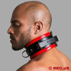 Schwarz / Rotes Bondage Halsband aus Leder