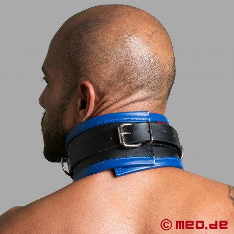 Schwarz / Blaues Bondage Halsband aus Leder