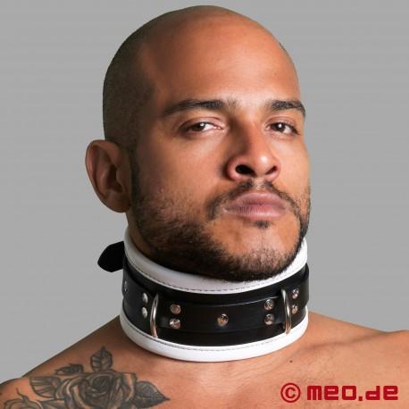 Cinturino per il collo bondage in pelle nero/bianco
