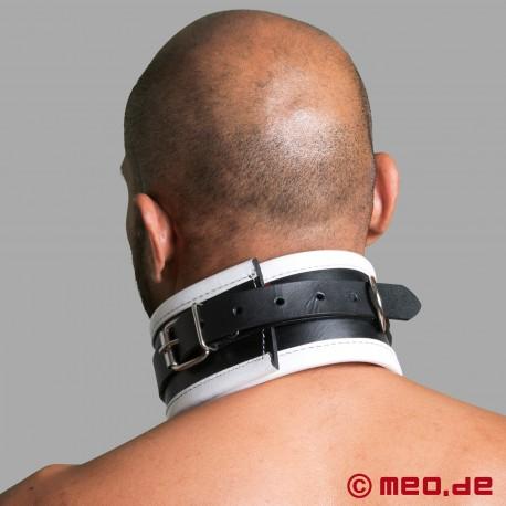 Schwarz / Weißes BDSM Halsband aus Leder