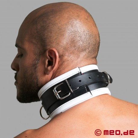 Black/White Leather Bondage Collar