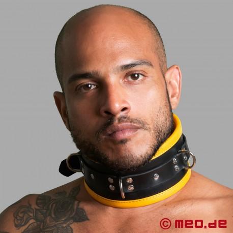 Schwarz / Gelbes Bondage Halsband aus Leder