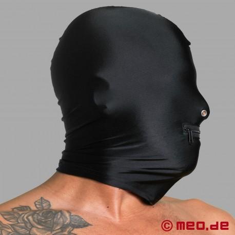 Masque en spandex avec des orifices naseaux et un zip pour la bouche