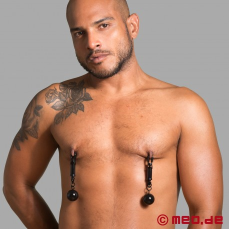 Black Bomber nipple clamps with weights