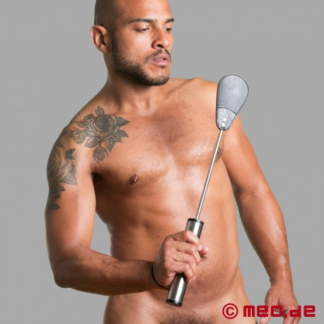 HURTME: Stainless steel riding crop with leather slapper