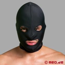 Maschera BDSM spandex - 2 strati - con occhi e bocca