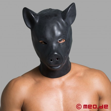 Masque de cochon – masque de tête « cochon » en latex noir