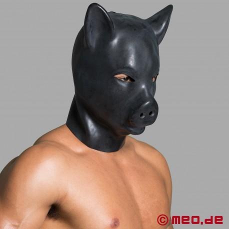 """Schweinemaske – Kopfmaske """"Schwein"""" aus schwarzem Latex"""